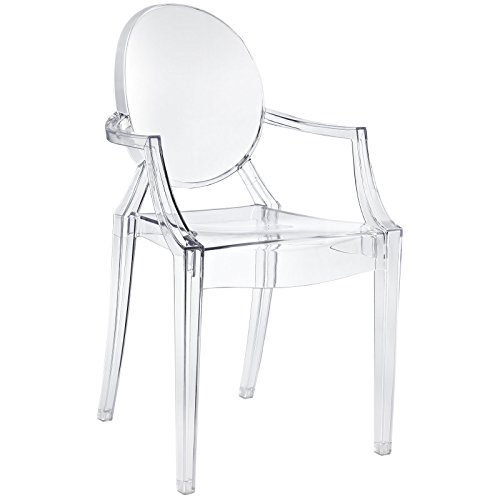 Modway Casper Modern Acrylic Stacking Kitchen and Dining Room Arm Chair in Clear - Fully Assembled (Acrylic Chair Rolling)