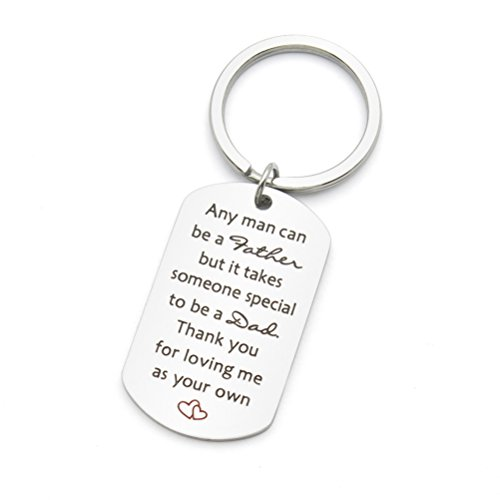 Any man can be father Gift Thank you for loving me as your own step dad Stainless Steel Keychain Key Ring (You Wedding Keychains Thank)