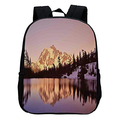 - Lake House Decor Durable Kindergarten Shoulder Bag,Snow Capped Mt Shuksan and Lake at Sunset Evening View National Forest Washington For school,11.8