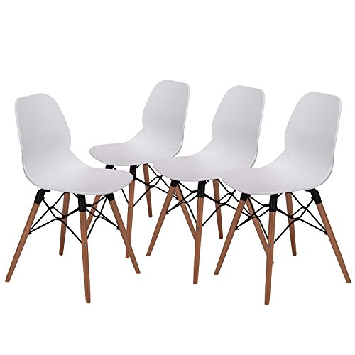 Chairs Art Dining Deco (SQUADISE 17.8 Inch Height Modern Dining Chairs - Mid Century Eames Style Chairs - Sturdy Wooden Legs Chairs, 300 lbs Capacity, Upgraded Base, White, Set of 4)