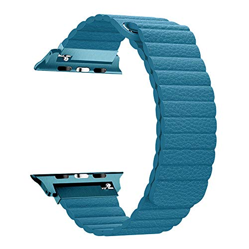 RUOQINI Compatible with Apple Watch Band 40mm [Series 4] 38mm [Series 3/2/1],Strong Magnetic Closure Leather Loop Replacement Starp Compatible for iWatch,Cape Cod Blue,M