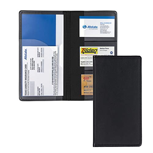 (Samsill Car Registration Holder - Vehicle Glovebox Organizer Wallet for Insurance Documents, Key Contact Information Cards, and More, Black)