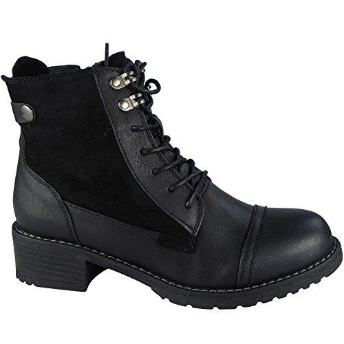 LoudLook ® Ladies Buckle Strap Zip Low Heel Army Work Biker Ankle Boots Size 3-8 Black BUVkbCOUre