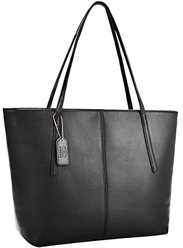 COOFIT Tote Handbags, Fashion Purses and Handbags for Women PU Leather Purse Tote Bag Black Black Zipper Tote