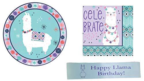 Llama Birthday Party Supplies Including Dessert Plates, Napkins and Bonus Custom Printed Ribbon