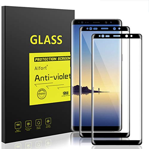 (Samsung Galaxy Note 8 Screen Protector [2 Pack] Alfort 3D Tempered Glass Film for Galaxy Note 8 0.26mm 9H Anti-Fingerprints Scratch Bubble-Free Full Coverage [ Black ])