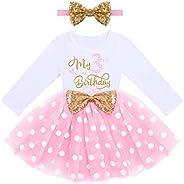IDOPIP Baby Girls Birthday Tutu Dress Long Sleeve Princess Party Playwear Sundress