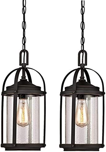 Westinghouse Grandview One-Light Outdoor Pendant, Oil Rubbed Bronze Finish with Highlights and Clear Seeded Glass 2 Pack