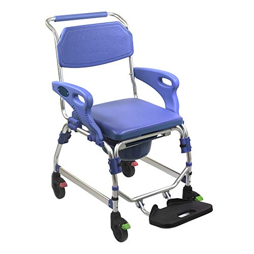 KosmoCare Premium Imported Lightweight Aluminium Propellor Light Shower cum Commode Wheelchair