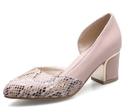 Easemax Womens Sexy Stitching Snakeskin Pointed Toe Mid Chunky Heel Slip On Pumps Shoes Pink