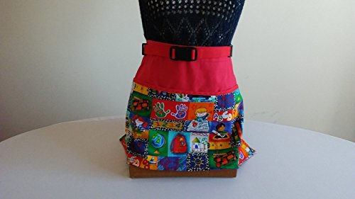 ADJUSTABLE NO TIE APRON -CONTINUOUSLY STOCKED/School Pattern / 3 Lined Pockets Waist Apron/This apron comes in Red or Navy background/One size fits most/The Perfect Teacher's Gift