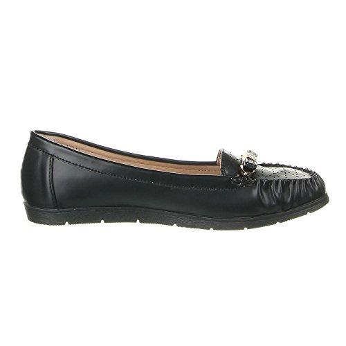 Ital-Design Damen Schuhe, ZH68-2, Mokassins Schwarz