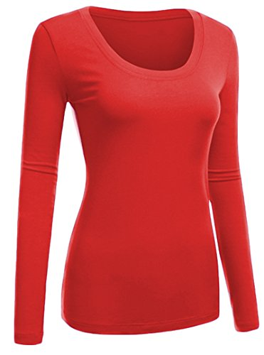 Emmalise Women's Plain Basic Cotton Spandex Scoop Neck Long Sleeve T Shirt Cherry Red Medium