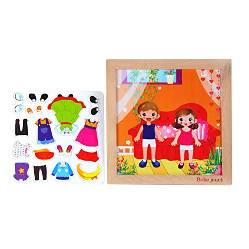 Toyvian Wooden Peg Puzzle Boys and Girls Dress-up Puzzle Box Sorting and Matching Wooden Sorting Toys for Children Kids
