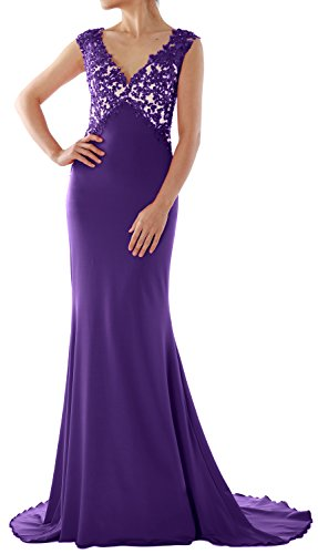 MACloth Women Mermaid Lace Jersey Long Evening Dress Prom Party Formal Ball Gown Morado