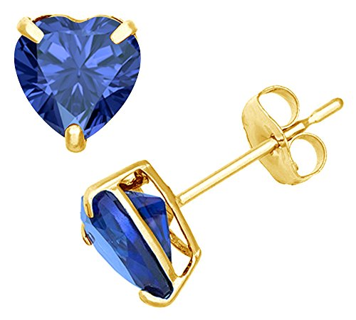 Simulated Blue Sapphire Heart Shape Stud Earrings In 14K Yellow Gold Over Sterling Silver (2 Ct)