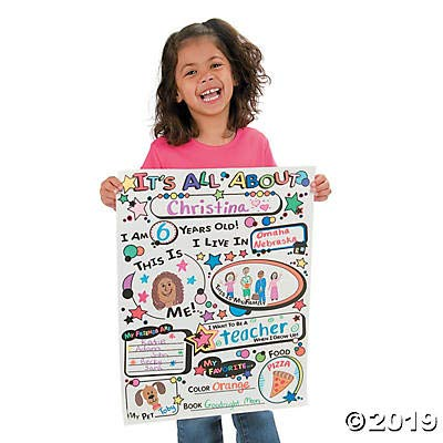 Fun Express Cyo All About Me! Posters - 30 Pieces - Educational and Learning Activities for Kids: Toys & Games