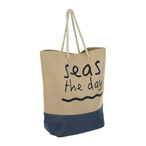 Lazy Beach Bag Extra Large Canvas Style Jute Holiday Shopper Wove Rope Handles Magnetic Clip Fastener Phone Pocket Fully LIned Blue