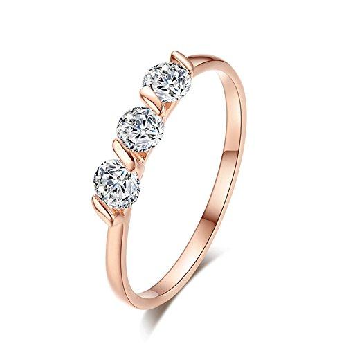 FENDINA Womens Shinning 18K Rose Gold Plated Slim Triple CZ Wedding Engagement Bands Crystal Promise Rings