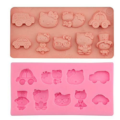 1 piece DIY Cartoon Hello Kitty Car Baby Toy Fondant Cake Silicone Mold Cupcake Candy Chocolate Decoration Baking Tool Moulds FQ1836]()