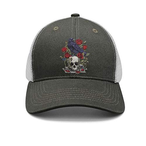 Skull-Design Head Bird Devil Rose Skull Unisex Stylish Mesh Trucker Cap Adjustable Fits Snapback hat Sport Cap One Size]()