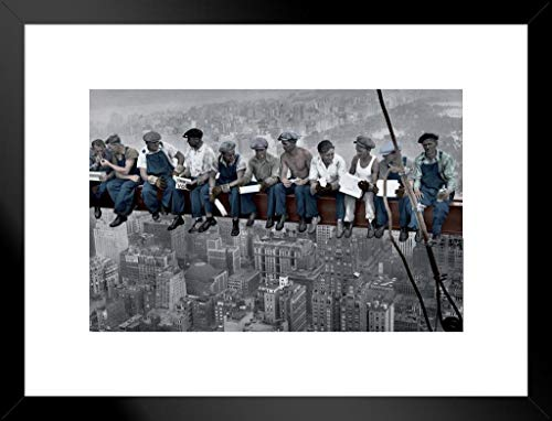 (Pyramid America Charles C Ebbets Lunch ATOP A Skyscraper Crossbeam RCA Building Rockefeller Center Colorized Matted Framed Poster 26x20 inch )