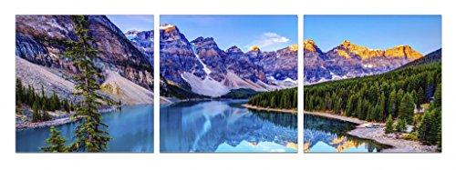 Startonight Glass Wall Art Acrylic Decor Mountain Lake, Set of 3 Total 23.62 X 70.87 Inch Startonight Original Artwork the Ultimate Wall Art by Glass Wall Art