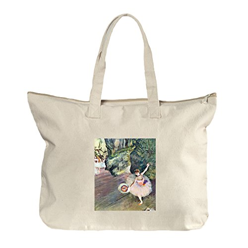 Dancer Bouquet Flowers Star Ballet (Degas) Canvas Beach Zipper Tote Bag Tote (Bag Ballet Degas)