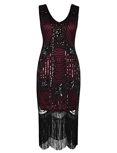 PrettyGuide Women's 1920s Gatsby Sequin Art Deco Fringed Cocktail Flapper Dress XXL Burgundy for $<!--$30.59-->