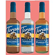 Torani Syrup Sugar Free Holiday Gift Set: Sugar Free Gingerbread, Sugar Free Peppermint & Sugar Free Pumpkin Pie Syrups by Torani