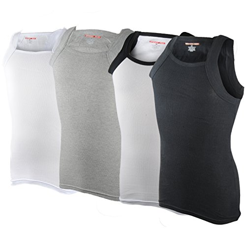 Men's G-unit Style Tank Tops Square Cut Muscle Ribbed Underwear Shirts (M, 4 Pack ( Assorted ))