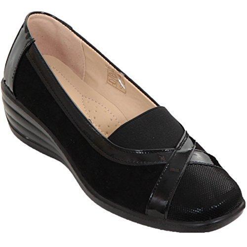 Saphir Boutique Damen elastisch Kunstwildleder Patent gepolstert kleiner Keilabsatz gepolstert Slip On Schuhe Schwarz