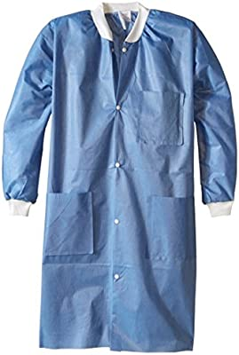 Noble Looking Disposable SMS Knee Length Lab Coat ValuMax 3660TEM Extra-Safe M Pack of 10 Teal Wrinkle-Free
