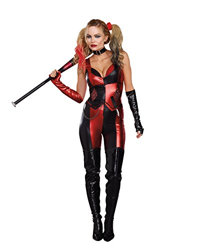 Harley Quinn And Joker Costumes (Dreamgirl Women's Harlequin Blaster Costume, Black/Red,)