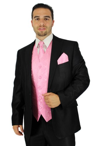 [Enimay Men's Combo Pack 3pc Set Paisley Vest Tie Hankerchief. 2XL Pink] (Pink Man Suit)