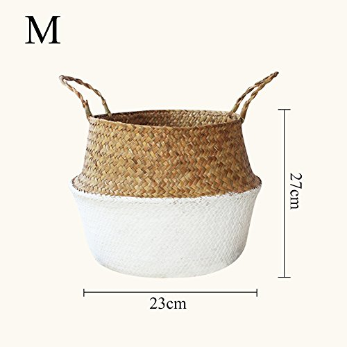 Samber Home Storage Organisation, Hand-Woven Foldable Plant Flower Pot Natural Seagrass Woven Basket Toy Storage Basket Wovening Laundry Basket Foldable Handcraft Weave Belly Basket Handle(B/M)