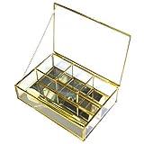 Moosy Life Vintage Chrome Decorative Box (Gold Mirror 4 Partition Tray)