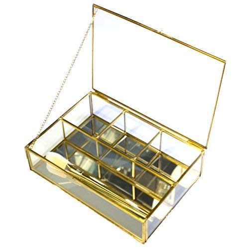 (Moosy Life Gold Vintage Room Decor Metal Tray, Mirror Based, 4 paritions, 8.97x 6.24x 2.34inch (Gold))
