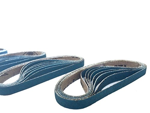 3/8 Inch X 13 Inch Zirconia Cloth Sanding Air File Belts (30 Pack, 60 Grit) by Perfect Sanding Supply