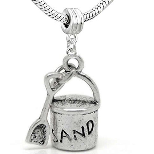 Beach Sand Bucket and Shovel Bead for Snake Chain Charm Bracelet (Beach Theme Charm)