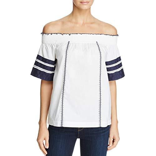 - Tory Burch Womens Portia Embroidered Off The Shoulder Casual Top White XL