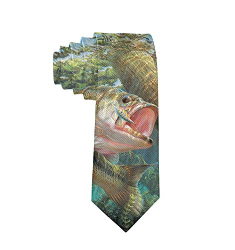 (Men's Skinny Tie Bass Fish Polyester Necktie, Gift for Groom, Groomsmen, Dad)