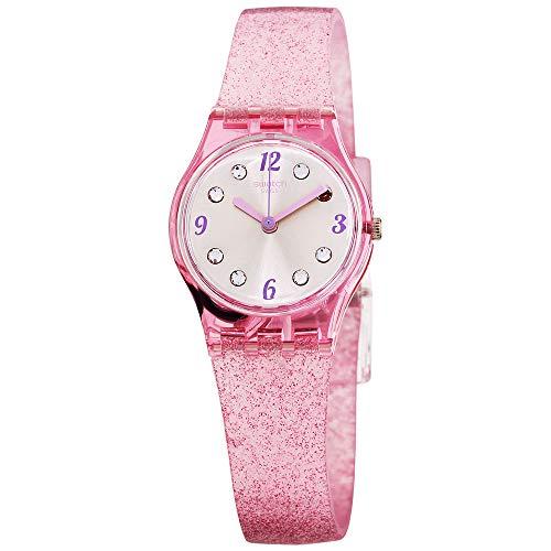 Original Silver Dial - Swatch Originals Rose Glistar Silver Dial Silicone Strap Ladies Watch LP132C