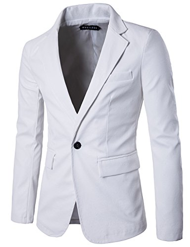 - WHATLEES Mens Slim Fit Single Breasted One Button PU Leather Blazer Jacket T101 White Large