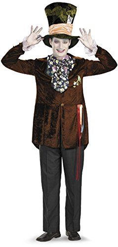 [Disguise Men's Mad Hatter Deluxe (Movie),Multi,XL (42-46) Costume] (Movie Costume Ideas For Men)
