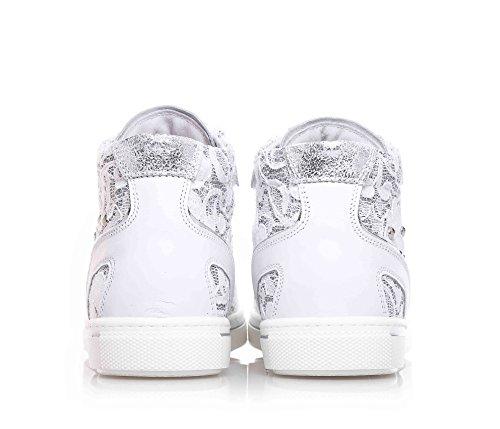 NERO GIARDINI - Weiße Sneakers mit Schnürsenkel aus Leder und Spitze, Kind, Mädchen, Damen