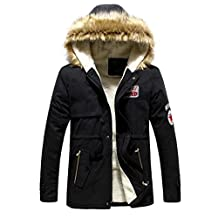 Men's Faux Fur Long Winter Trench Jacket Coat Hooded Parka