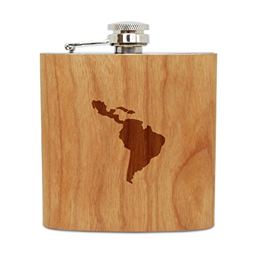 Hip Flask Design (WOODEN ACCESSORIES COMPANY Cherry Wood Flask With Stainless Steel Body - Laser Engraved Flask With Latin America Design - 6 Oz Wood Hip Flask Handmade In USA)