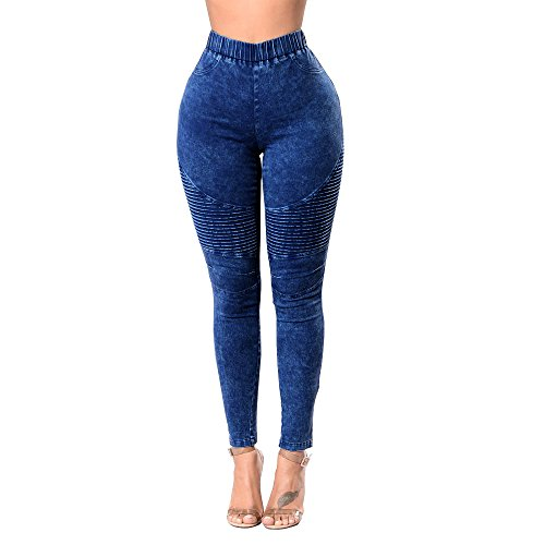Women's Denim Stretch Skinny Jeans high Waisted Plus Pull-on Biker Ankle Pencil Size Pants Leggings (Blue, S)