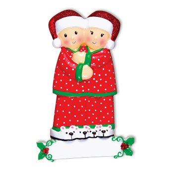 Grantwood Technology Personalized Christmas Ornaments Family Series- Pajama Family Couple